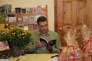 Reading at my first book launch at Blue Heron Books in Uxbridge, Ontario