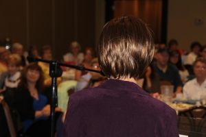 Barbara Kyle, addressing a captive audience of writers at the May 10/14 WCDR Roundtable Meeting