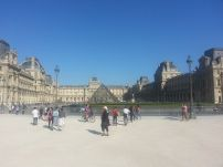 Approaching the incredibly massive Louvre.