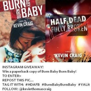 Follow the Directions in this image to enter to win a paperback of Burn Baby Burn Baby on Instagram!