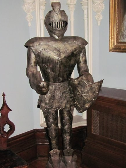 Standing guard in the main foyer of Trafalgar Castle, Whitby, Ontario...